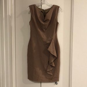 Taupe professional midi dress with detail